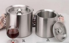 Double-thick stainless steel ice bucket with lid champagne Wine Bar Sale price $76.55 Regular price $113.99
