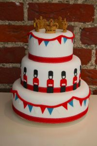 Such a fun crown topped Jubilee celebration cake. #crown #London #guards #UK #British #Britain #jubilee #cake #food #party