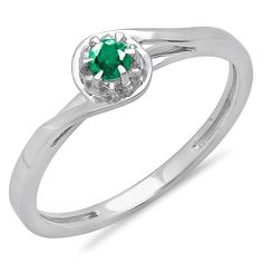 0.12 Carat (ctw) 10K White Gold Round Emerald Ladies Twisted Style Solitaire Bridal Promise Ring * Hurry! Check out this great product : Promise Rings Jewelry