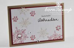 Heute gibt es mal wieder eine Weihnachtskarte von mir. Zur Zeit habe ich nämlich gar nciht so viel, was ich hier zeigen kann. Denn ab heute morgen sind die Zwillinge Kindergarten-Kinder und gehen in d