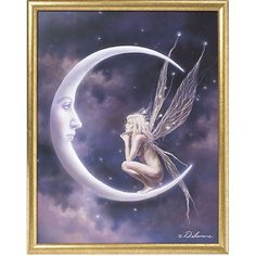 Moon & Faerie Framed Print - New Age, Spiritual Gifts, Yoga, Wicca, Gothic, Reiki, Celtic, Crystal, Tarot at Pyramid Collection
