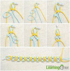 Tutorial on knitting lark's head knot friendship bracelet