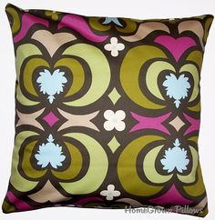 Handmade Throw Pillow Cover , Removable Cover, 16x16 Pillow Cover, Amy Butler Water Lotus in Forest Fabric