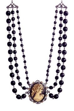 Antiquities Couture Collection Triple-Row Beaded Cameo Necklace