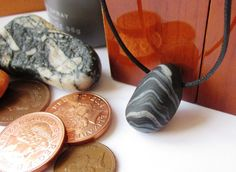 Mens pebble necklace mans polymer clay pendant necklace by Lagneys, £8.00