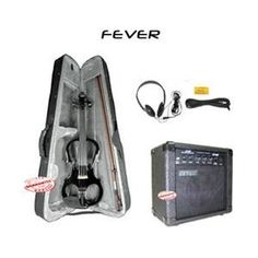 Fever Solid Wood Black Electric Violin with 20 Watts Amplifier VLE-BK-AMP 1 of 2 -  $229.95  Free Budget Shipping Electric Violin, Mandolin, Solid Wood, Budget, Amp, Free, Black, Black People, Thrifting