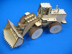Laser cut wood front end loader toy kit build it by HeartwoodToys