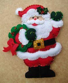New Post santa craft ideas Christmas Sewing, Rustic Christmas, Christmas Art, Christmas Projects, Simple Christmas, Felt Christmas Decorations, Felt Christmas Ornaments, Christmas Themes, Christmas Stockings