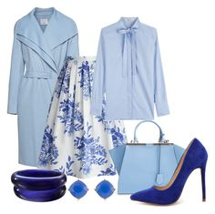 """""""Blue Mood (Outfit Only)"""" by hastypudding ❤ liked on Polyvore featuring Vince, Chicwish, Valentino, Fendi, Liliana, Carolee, Blue and fashionset"""