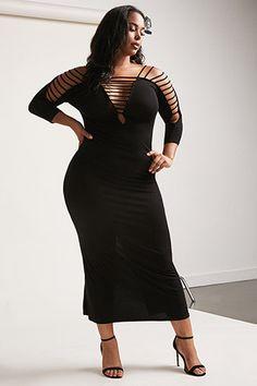 Plus Size Open-Shoulder Maxi Dress