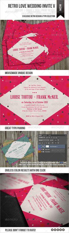 Retro Love Wedding Invite V - Weddings Cards & Invites