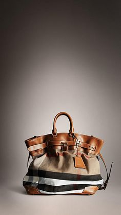 Burberry - BOLD STITCH CANVAS CHECK TRAVELLER BAG