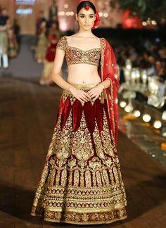 Heavy Maroon Velvet Bridal Lehenga with Golden Aari Handwork