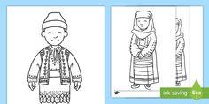 * NEW * Portul tradițional românesc - Pagini de colorat - centenar, tradiție, tradițional, 100, românia, de colorat, pagini, ziua româniei,Romanian