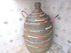 Large black laundry basket, ethnic decorated storage chest, wicker Hamper on Etsy, $139.00