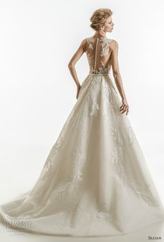 jillian 2018 bridal sleeveless illusion jewel semi sweetheart neckline heavily embellished bodice elegant a line wedding dress high front slit sheer lace back chapel train (07) bv