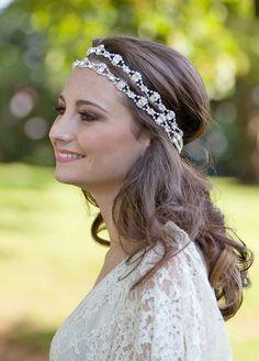 Rhinestone Headband, Grecian Headpiece, Wedding Hair Accessory, Crystal Headband, Bridal Stretchable Headband - EDNA