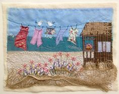 Washday at the seaside Freehand Machine Embroidery, Free Motion Embroidery, Crewel Embroidery, Fabric Cards, Fabric Postcards, Sewing Art, Sewing Crafts, Landscape Art Quilts, Fabric Pictures