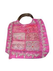 Wooden Handle Hotpink Sequined Purse Bag Tote $19.99