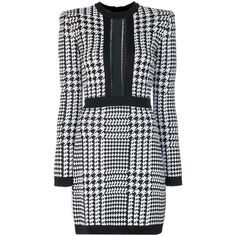 Balmain Black/White Pepita Houndstooth Dress (119.890 RUB) ❤ liked on Polyvore featuring dresses, black, balmain dress, black and white houndstooth dress, black white dress, black and white short dresses and houndstooth dress