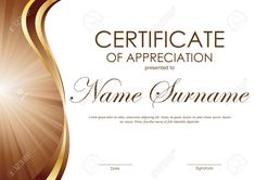Certificate of appreciation template with brown and gold wavy curved swirl background. Printable Certificates, Award Certificates, Certificate Templates, Employee Awards, Good Employee, Certificate Of Completion Template, Certificate Of Appreciation, Best Templates, Word Pictures