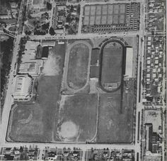 Aerial view of Hayward Field, Howe Field, Mac Court, and other athletic facilities on campus 1951. From the 1952 Oregana (University of Oregon yearbook). www.CampusAttic.com
