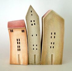 set of 3 ceramic houses in a row made in high fired by VGCLAYART