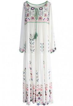 White Flowerland Embroidered Maxi Dress - Retro, Indie and Unique Fashion Embroidery Dress, Floral Embroidery, Unique Fashion, Fashion Fashion, Casual Dresses, Fashion Dresses, Biker Chic, Floral Maxi, Retro Dress