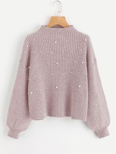 Pearl Embellished Exaggerated Bishop Sleeve Ribbed Sweater online. SheIn sales offer.