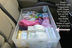 Backup baby kit to keep in the car for the times you don't have what you need in the diaper bag.