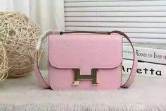 Spring 2016 Hermes Outlet With Free Shipping-Hermes Classic Constance  Shoulder Bag in Sakura Pink Veau Epsom b3102f4750315