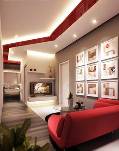 Minimalist small living room design with red, black and white color scheme