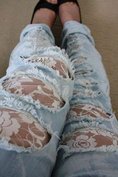 lace ripped jeans