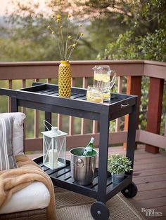 The bar cart Jenna built from a plan she found online is eager to please: It can roll to wherever it's needed and has a removable tray top. /