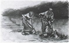Peasant Man and Woman, Digging #Vincent van Gogh #Watercolor, Black chalk, #watercolour Nuenen: August, 1885