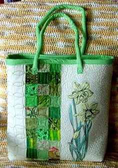Advanced Embroidery Designs. Free Projects and Ideas. Quilted tote with daffodil redwork embroidery