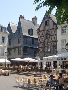 Town of Tours, France  Place Plumereau spent many an evening here .  What a fun time!