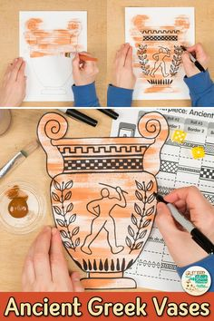 Ancient Greece Art Game Learn art history while creating an Ancient Greece vase inspired by Greek Mythology. Fill up your middle school art sub plan folder with no-prep art projects that are easy to implement. Great for grade arts integration, homescho Art Sub Plans, Art Lesson Plans, Ancient Greek Art, Ancient History, Ancient Greece Ks2, Ancient Greece For Kids, Ancient Greece Crafts, Ancient Greece Lessons, Greek Crafts