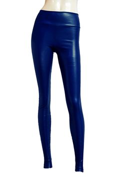c0d833da305df stretchy leather leggings. wet look skinny pants. plus size sexy tights.  Navy Blue