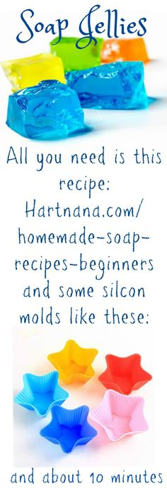 Homemade Soap Recipes Beginners And Kid Friendly homemade soap recipes beginners can succeed at easily. Took me 10 minutes to make this. All you need is gelatin, salt, water & liquid soap - and Homemade Soap Recipes, Homemade Gifts, Homemade Soap For Kids, Soap Making Recipes, Bath Jellies, Shower Jellies Diy, Diy Shower, Shower Ideas, Bath Soap