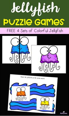 FREE Jellyfish Puzzle Games : Perfect for Toddlers, Preschoolers and Kindergarten. Easy to Prep activity. Great for independent or pair use! Toddler Games Online, Online Puzzle Games, Puzzle Games For Kids, Zoo Phonics, Preschool Literacy, Preschool Themes, Fish Activities, Indoor Activities For Kids, Toddler Activities