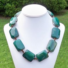 Emme  Gorgeous Super Chunky Emerald Green Natural Agate by Tessyla, $125.00