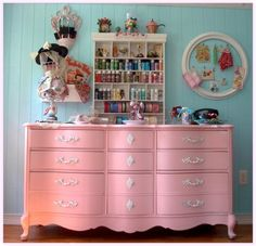 Pink vintage dresser, perfect fit for a nursery. #pink #baby #nursery