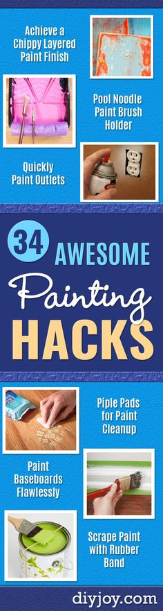 DIY Painting Hacks - Easy Ways to Make House Painting Shortcut - Wall Prep, Painter Tape, Trim, Edgi Painting Walls Tips, Painting Baseboards, Diy Painting, Painting Hacks, House Painting, Teen Bedroom Makeover, Diy Bedroom, Scrape Painting, Decoration Home