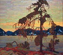 """Tom Thomson's """"The Jack Pine"""", 1916-17. In the National Gallery of Canada, Ottawa. Photo © NGC. Thomson is commonly associated with Canada's """"Group of Seven"""" even though he died before its official formation. Believing that a distinct Canadian art could be developed through direct contact with nature, the Group of Seven is best known for its paintings inspired by the Canadian landscape, and initiated the first major Canadian national art movement."""