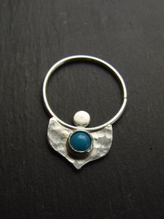 Single Turquoise and Sterling Silver Piercing by TurtleSpiritArts