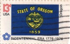 US postage stamp, 13 cents.  Oregon.  Issued 1976.  Scott catalog 1665.