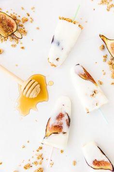 Honey yoghurt fig popsicles.