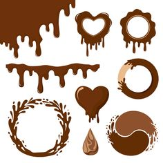 Chocolate dripping with heart vector Chocolate Drawing, Chocolate Drip, Chocolate Template, Dessert Logo, Alphabet Wall Decals, Cake Icon, Sweet Logo, Candy Logo, Cake Logo Design