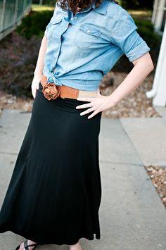 Maxi skirt+ Chambray